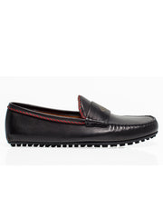 Black Leather Loafers with Bee Design