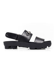 Black Leather Horsebit Sandals