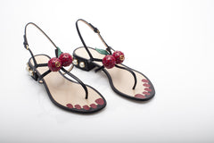 Appliquéd Red Crystal Cherry Flats