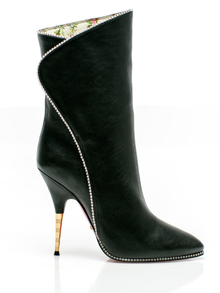 Fosca Black Leather Ankle Boots