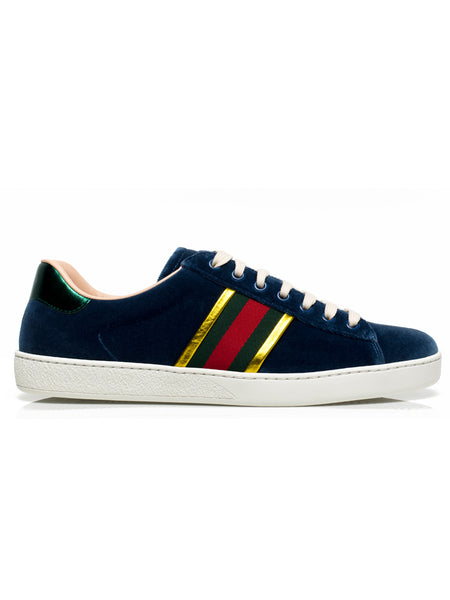 Ace Blue Velvet Sneakers