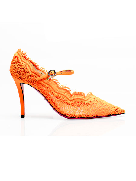 Virginia Neon Orange Lace Pumps