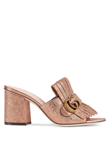 Gucci Metallic Fringed Mules