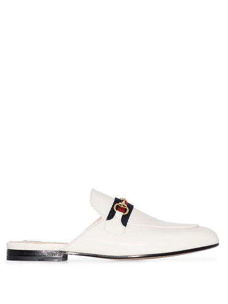 Gucci White Leather Princetown Slides
