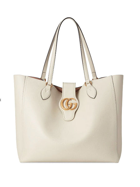 Gucci Double G White Leather Tote