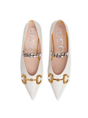 Gucci Horsebit White Flats