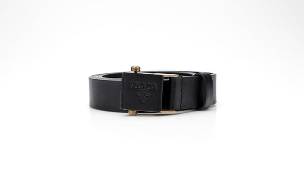 Black Leather Belt Stamped Facet