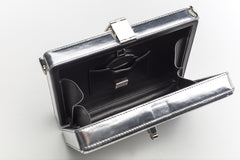 Mirrored Leather Box Clutch