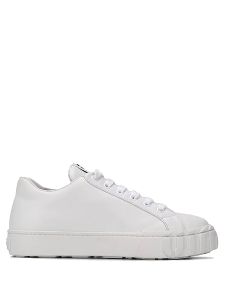 Miu Miu Lace-up White Leather Sneakers