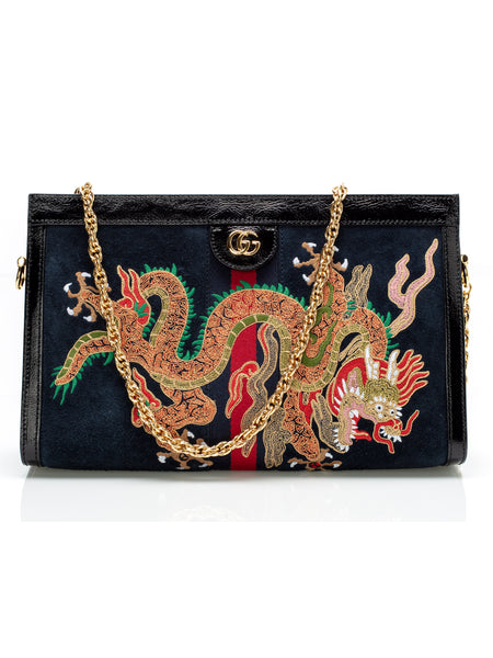 Ophidia Embroidered Suede Shoulder Bag