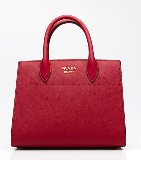 Bibliotheque Mini Textured Red Leather Tote