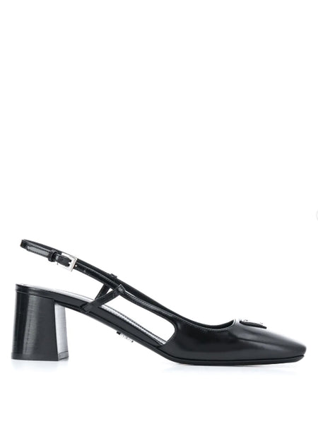 Prada Square-Toe Slingback Pumps