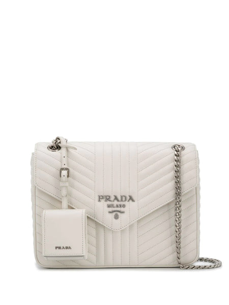 Prada Diagramme White Shoulder Bag