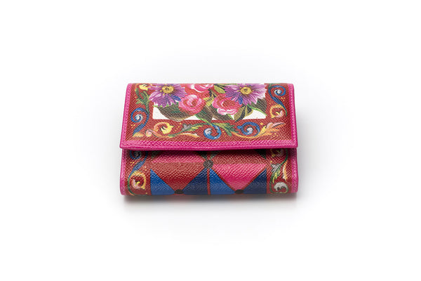 Printed Textured Mini Leather Wallet