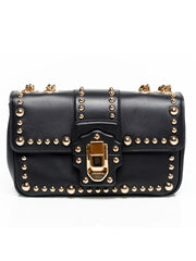Gold Studded Black Shoulder Bag