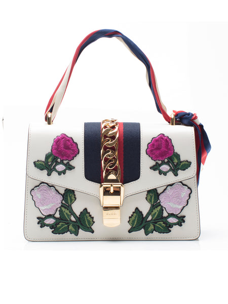 Sylvie White Embroidered Small Shoulder Bag