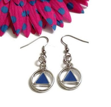 Blue Enamel AA Earrings Alcoholics Anonymous