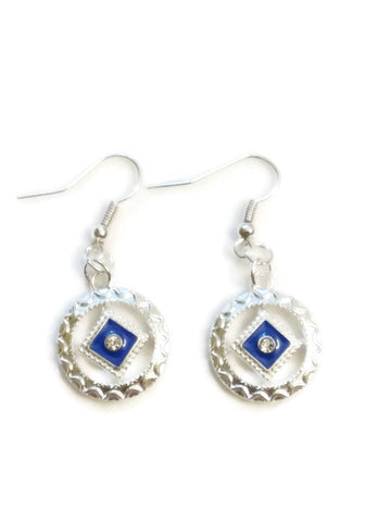 Blue Enamel & Crystal Narcotics Anonymous Earrings