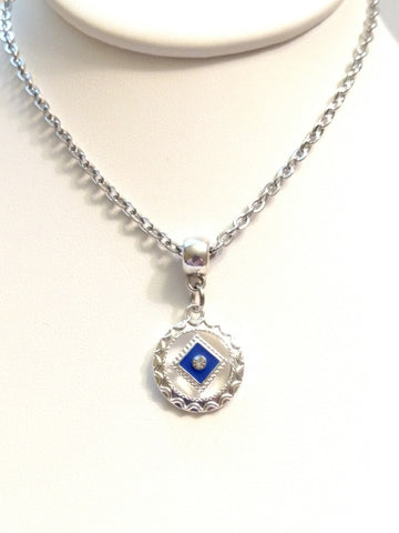 Blue Enamel & Crystal Accent Narcotics Anonymous Necklace
