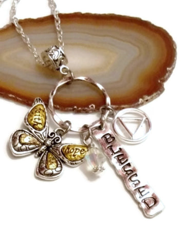 Butterfly 'Faith Hope Blessed' Charm Holder Necklace Alcoholics Anonymous