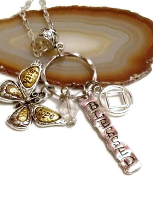 Butterfly 'Faith Hope Blessed' Charm Necklace Narcotics Anonymous