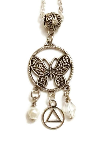 Butterfly 3 Charm Pendant Necklace Alcoholics Anonymous