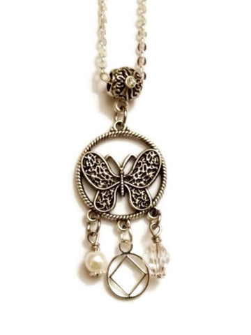 Butterfly 3 Charm Pendant Necklace Narcotics Anonymous