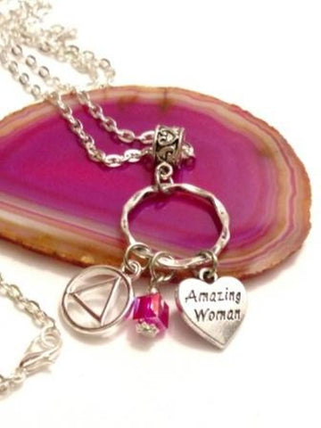 Amazing Woman Charm Holder Necklace Alcoholics Anonymous - Pink