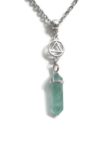 Green Fluorite Crystal Drop Necklace - Alcoholics Anonymous