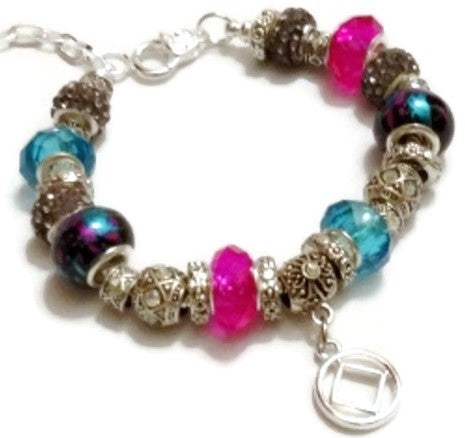 Beaded Charm Bracelet - Narcotics Anonymous - Pink & Teal