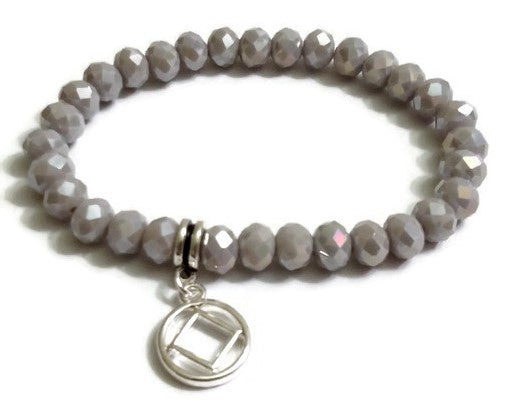 Sparkly Beaded Stretch Bracelet Narcotics Anonymous - Iridescent Gray