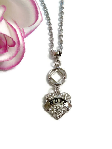 Crystal Hope Heart NA Necklace - Clear