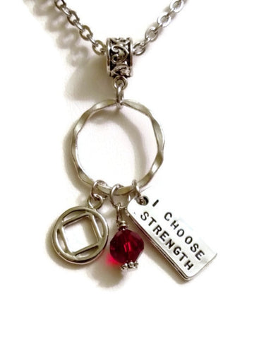I Choose Strength Charm Holder Necklace Narcotics Anonymous