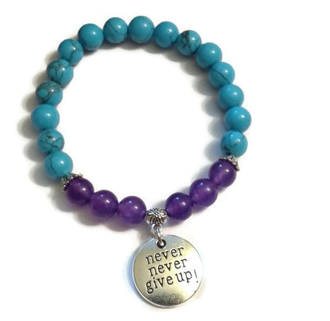 Natural Amethyst and Synthetic Turquoise Bracelet - Never Never Give Up