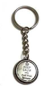 Keep Calm And Call Your Sponsor Keychain - 4 Pack