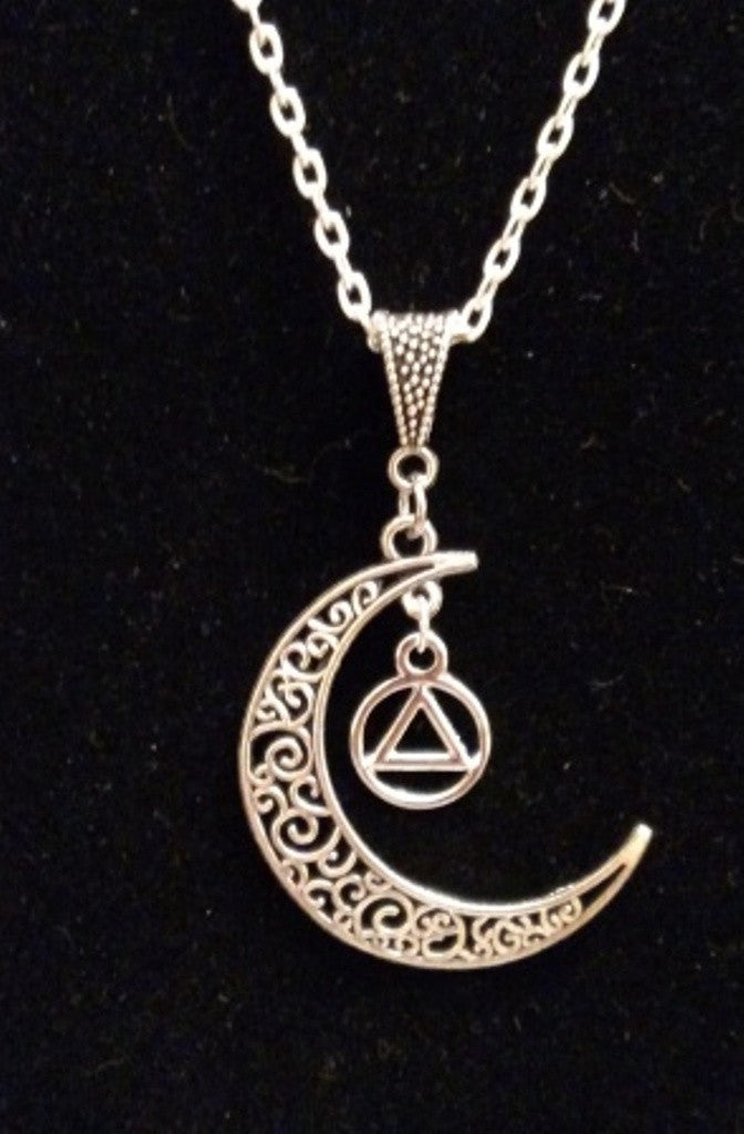 Moon Dangle Alcoholics Anonymous Necklace