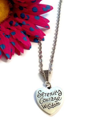 Heart Serenity Courage Wisdom Necklace - Inspirational Jewelry