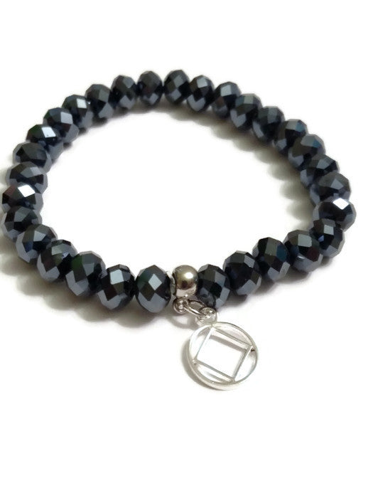 Sparkly Beaded Stretch Bracelet Narcotics Anonymous - Black