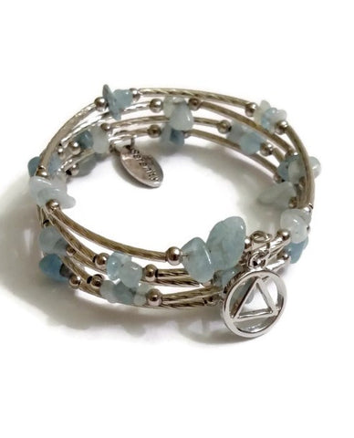 Aquamarine Wire Wrap Bracelet Alcoholics Anonymous