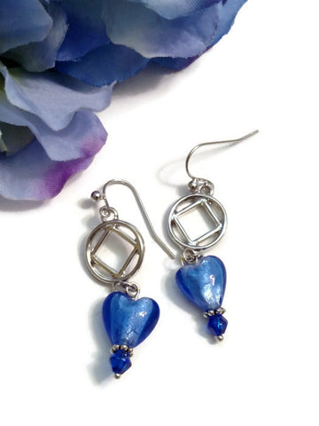 Bright Blue Glass Heart Dangle Earrings - NA