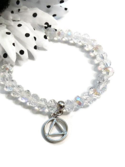 Sparkly Beaded Stretch Bracelet Alcoholics Anonymous - Clear