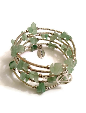 Aventurine Wire Wrap Bracelet Alcoholics Anonymous