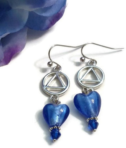 SALE Bright Blue Glass Heart Dangle Earrings - AA