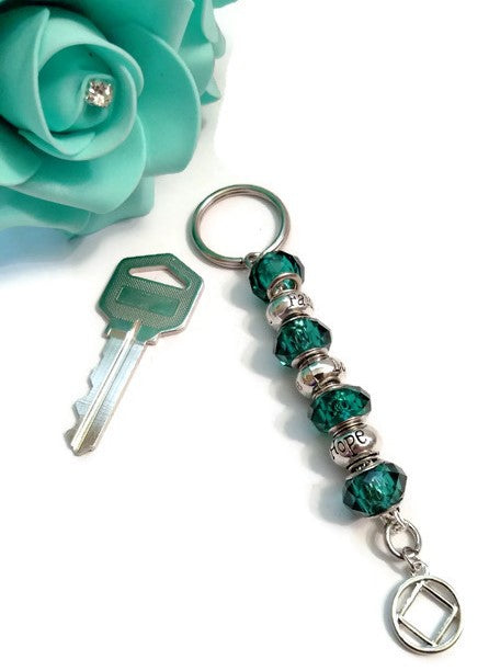 Teal Bling Faith Love Hope Keychain - NA