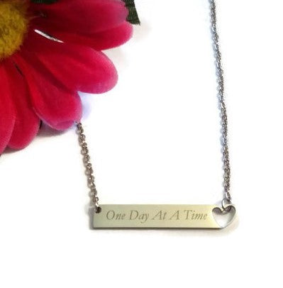 One Day At A Time Stainless Bar Necklace