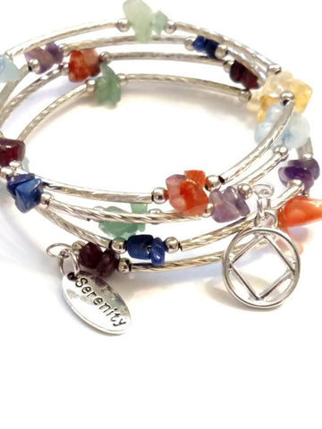 A Multi Colored Stone Wire Wrap Bracelet - NA