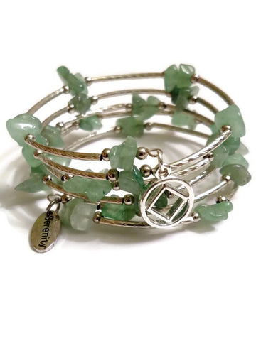 Aventurine Wire Wrap Bracelet Narcotics Anonymous