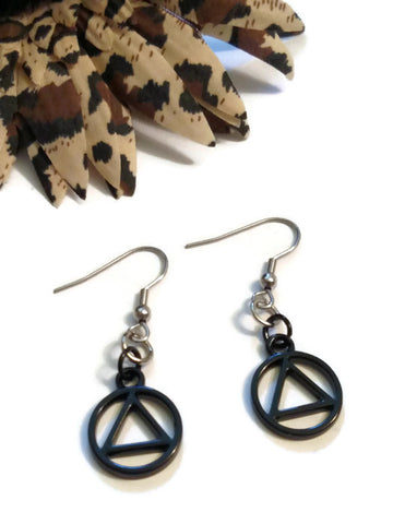 Black AA Cutout Earrings - Alcoholics Anonymous