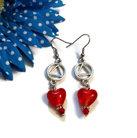 SALE Bright Red Glass Heart Dangle Earrings - AA