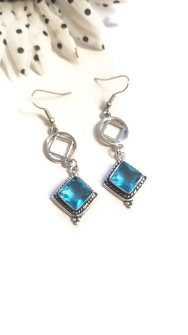 Diamond Shape Blue Toaz Earrings - NA